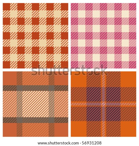 Tartan fabrics with seamless repeat background pattern - stock vector