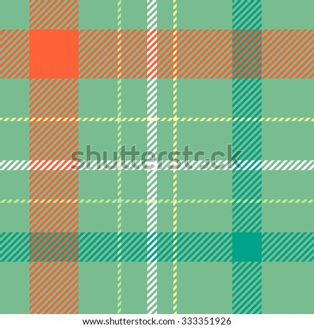 Tartan pattern. Scottish traditional fabric seamless vector. Colorful green, orange, yellow and white. Suitable for children, decoration, home, design, concept, clothing, handicraft & scrap booking. - stock vector