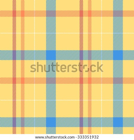 Tartan pattern. Scottish traditional fabric seamless vector. Colorful red, blue, yellow. Suitable for children, decoration, home, design, concept, clothing, handicraft & scrap booking. - stock vector