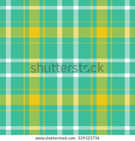 Tartan pattern. Scottish traditional fabric seamless vector. Colorful yellow, green and white. Suitable for children, decoration paper, home, design, concept, clothing, handicraft & scrap booking. - stock vector