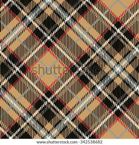 Tartan,plaid Seamless pattern,diagonal background. Wallpaper,wrapping paper,textile.Retro style.Fashion illustration,vector.Christmas,new year  decor.Traditional red,black,Beige scottish ornament - stock vector