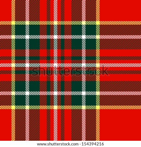 Tartan traditional checkered british fabric seamless pattern, red and green, vector - stock vector