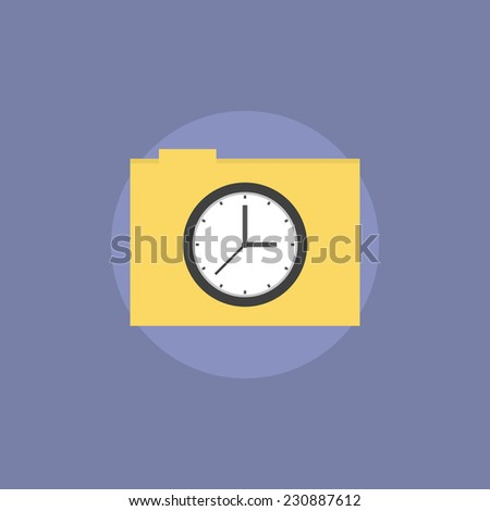 Task folder with files and documents, time management archive, business papers reminder. Flat icon modern design style vector illustration concept. - stock vector