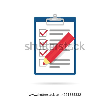 Task list icon with red pencil isolated on white - stock vector