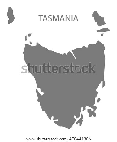 Tasmania Australia Map in grey