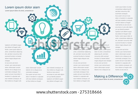 Tasteful Two Page Spread Layout Template - stock vector