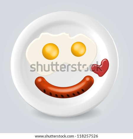 Tasty breakfast food plate smile illustration concept - stock vector