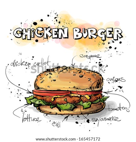 Tasty burger. Sketch + watercolor style. Vector collection. - stock vector