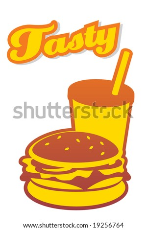 Tasty Burger with drink. Vector. FOR MORE VECTORS VISIT MY GALLERY. - stock vector