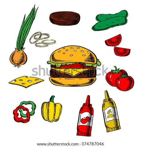Tasty cheeseburger and ingredients of tomato, pepper, onion, beef patty, cucumber, mustard, ketchup and cheese. Fast food vector illustration