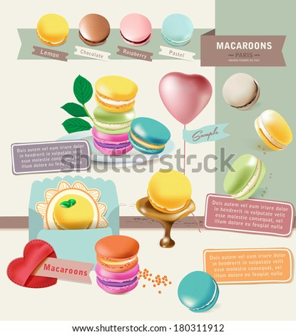 Tasty Colorful Vector Macaroon Elements 2 - stock vector