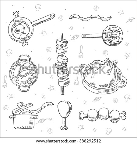 Tasty fast food and bbq sketch drawing, for restaurant, meal market and  cafe design - stock vector