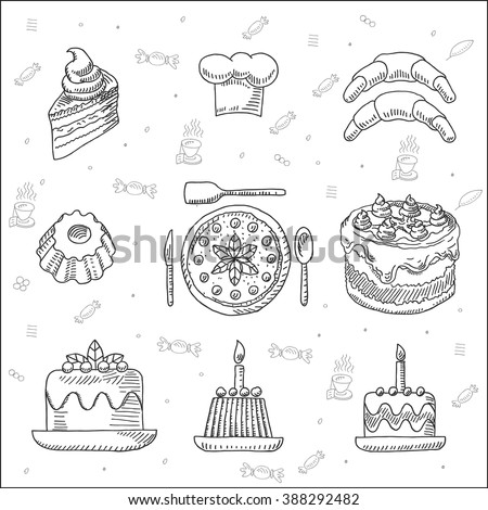Tasty fresh bakery, cake, pastry and dessert   icons set, in sketch drawing style, for  restaurant and  cafe design