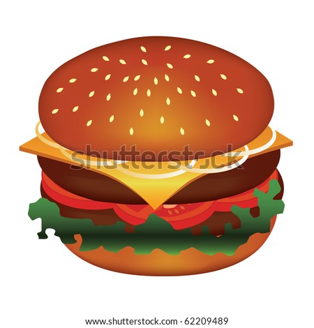 tasty hamburger with meat, tomato, cheese, salad, onion - stock vector