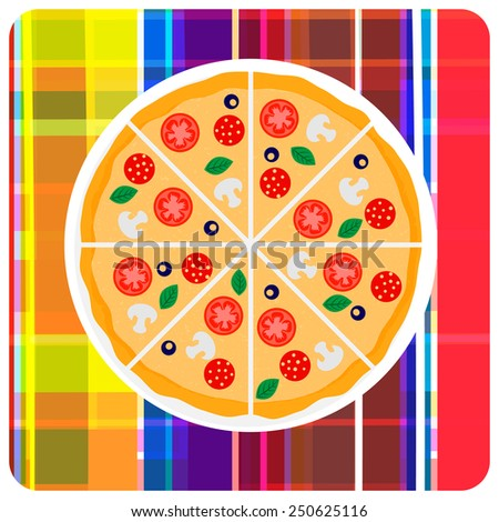 Tasty italian pizza with tomato, sausage or salami, olive and mushrooms on the plaid. Vector clip art illustration. Design element. - stock vector