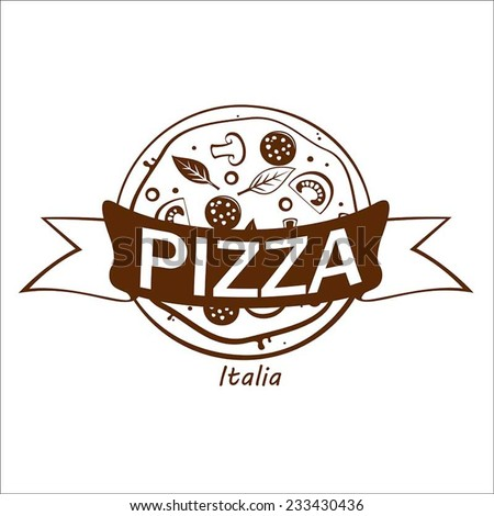 Tasty pizza. Vector. - stock vector
