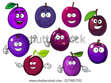Tasty purple plum fruits cartoon characters with green leaves and playful smiling face, for agriculture or healthy food - stock vector