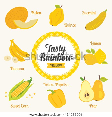 Tasty rainbow set. Yellow color. Fruits and vegetables. Melon, quince, zucchini, banana, lemon, sweet corn, yellow paprika, pear. Vector illustration. - stock vector