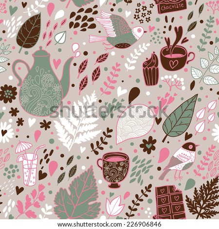 Tasty seamless pattern. Tea, coffee, chocolate and cupcakes. Seamless pattern can be used for wallpapers, pattern fills, web page backgrounds,surface textures. - stock vector