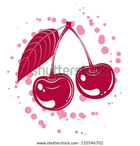 Tasty vector illustration of cherry isolated on white - stock vector