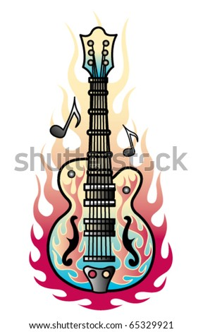 Tattoo design of a rock and roll guitar with flames and musical notes. - stock vector