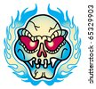 Tattoo design of a skull and flames. - stock vector