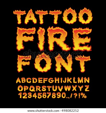 Tattoo Fire font. Flame Alphabet. Fiery letters. Burning ABC. Hot typography. blaze lettring