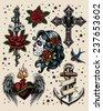 Tattoo Flash Illustration Set - stock vector