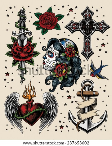 Tattoo Flash Illustration Set - stock vector