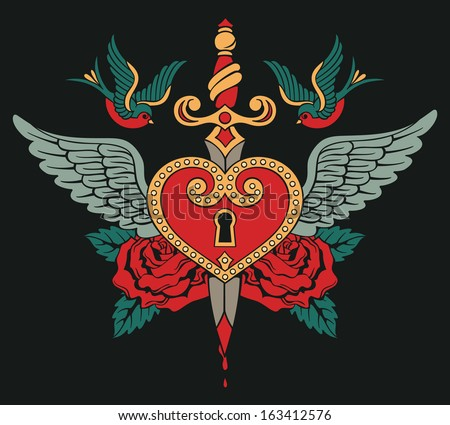 tattoo heart with wings, roses, birds and knife - stock vector