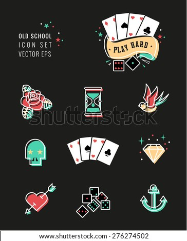 tattoo icon set, rockabilly and old school design. black and white.
