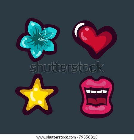 Tattoo icons set with heart, star, flower, lips - stock vector