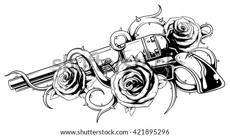 Tattoo illustration of revolver colt with three roses