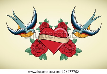 Tattoo Illustration with heart, roses and swallows - stock vector