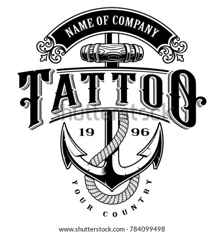 Tattoo Lettering Illustration With Anchor Logo Template Design Shirt Graphic Text Is