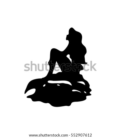 tattoo mermaid silhouette on stone with tail isolated smooth flat mermaid vector tattoo silhouette