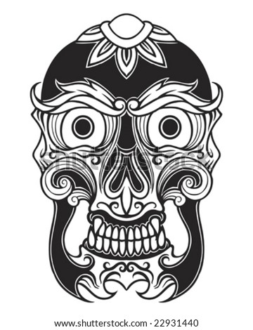 tattoo skull mask - stock vector