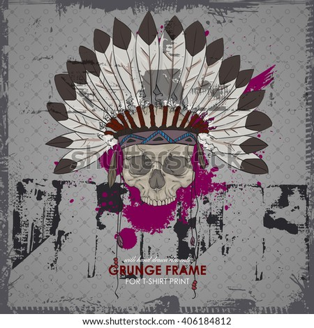 Tattoo style skull with indian feather hat. Grunge vector art illustration. Skull with indian feather hat. Grunge vector art. HIPSTER print for t-shirt. Modern street style attributes. - stock vector