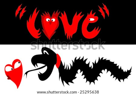 tattoo/t-shirt style illustration of a dragon chasing after a heart - stock vector
