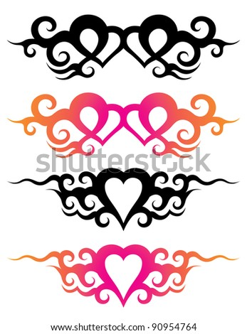 tattoo templates of a hearts with abstract ornaments - stock vector