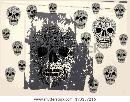 tattoo tribal music skull vector art - stock vector