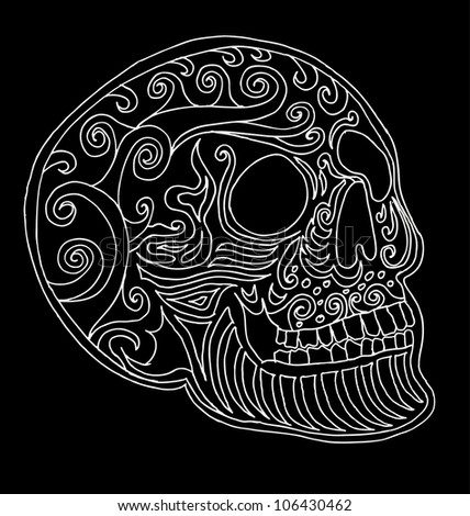 tattoo tribal skull - stock vector