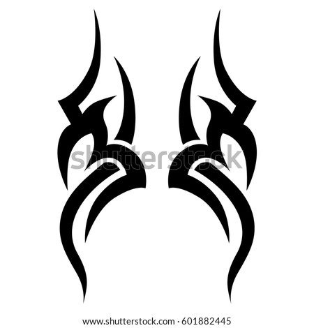 Tattoo Tribal Vector Designs Sketch. Simple Logo. Designer Isolated Element  For Ideas Decorating The