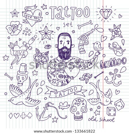 Tattoo vector set. Cartoon tattoo elements in funny style: anchor, dagger, skull, flower, star, heart, dices, bone, diamond, scull, pistol and cool bearded man. Doodle in exercise book style - stock vector