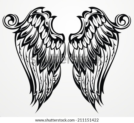 Tattoo wings - stock vector