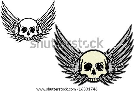 Tattoo wings and skull - stock vector