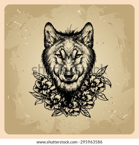 tattoo wolf with flowers  - stock vector