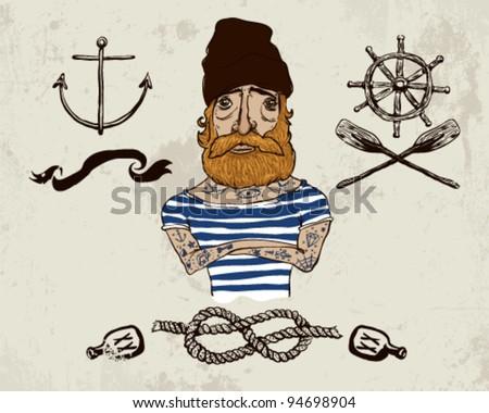 Tattooed sailor - stock vector