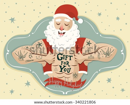 Tattooed Santa Claus. Banner, placard, party invitations, cover design or card template. Vector Illustration - stock vector