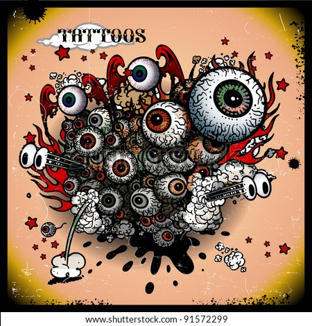 tattoos eye explosion - stock vector